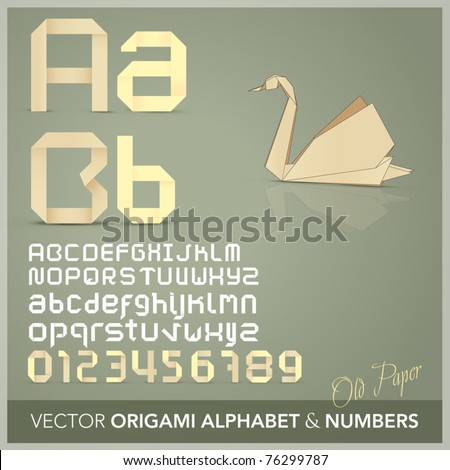Origami alphabet letters and numbers  with origami object Old paper - stock vector