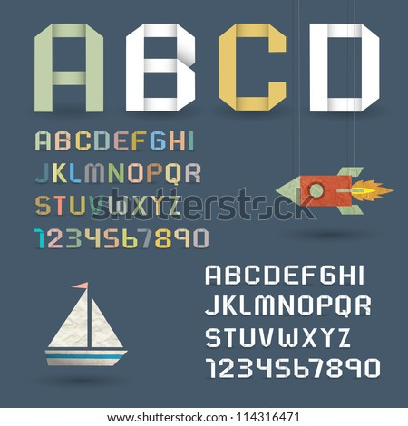 Origami Alphabet with Numbers in retro style. Vector font