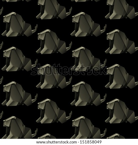 origami animal design. elephant pattern seamless. vector illustration - stock vector