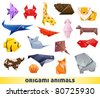 origami animals - stock vector