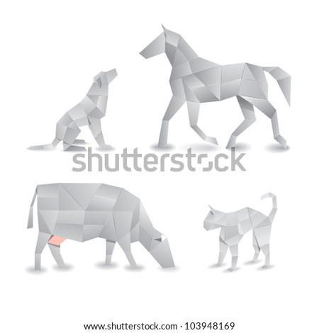 origami animals - stock vector