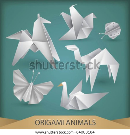 origami animals vector set - stock vector
