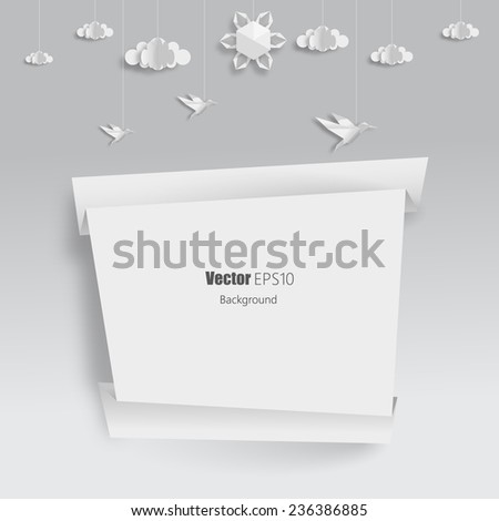 Origami Banner with clouds, birds and sun. Vector EPS 10 - stock vector