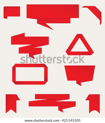 Origami banners.Paper banners set.Vector illustration. - stock vector