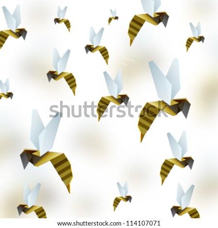 Origami Bee Background Vector Design