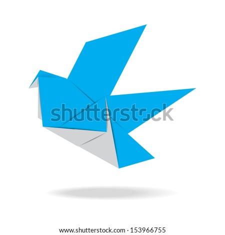 Origami bird ,Illustration eps 10 - stock vector