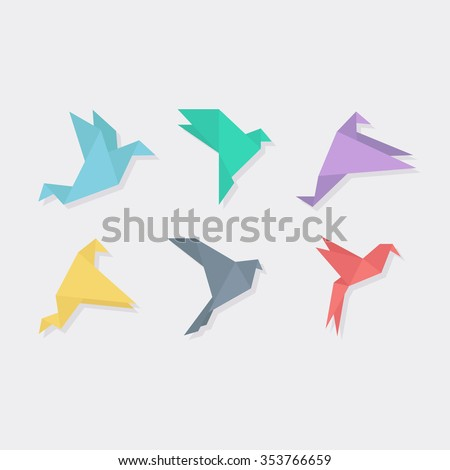 Origami bird in a flat style vector illustration. Abstract origami birds vector set. Paper origami birds flying.