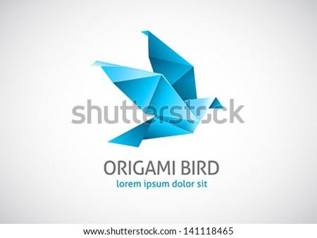 origami bird logo - stock vector