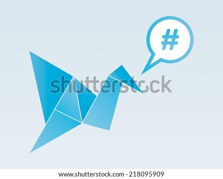 origami bird with hashtag speech bubble - stock vector