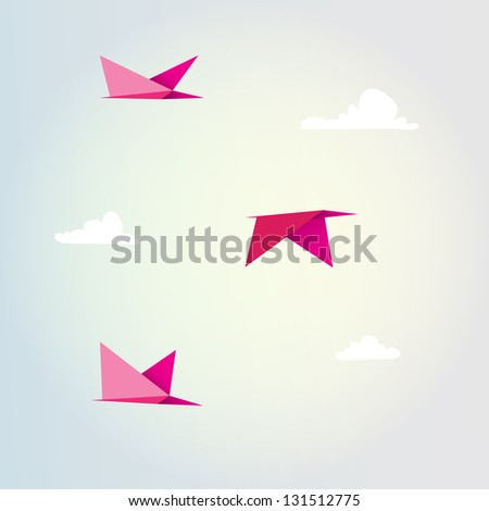 Origami birds and clouds vector design background - stock vector