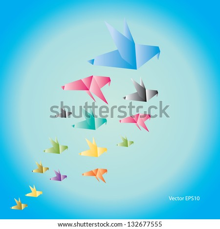 Origami Birds start to fly. Vector Background - stock vector