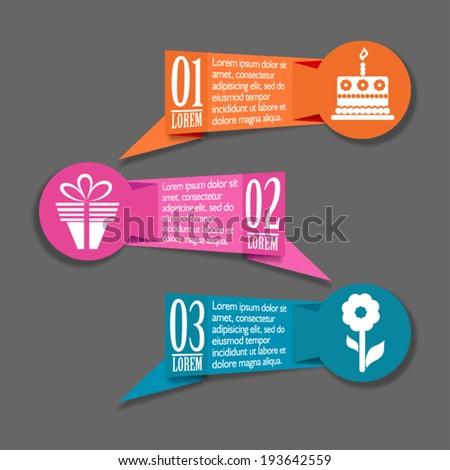Origami birthday banners set, vector illustration - stock vector