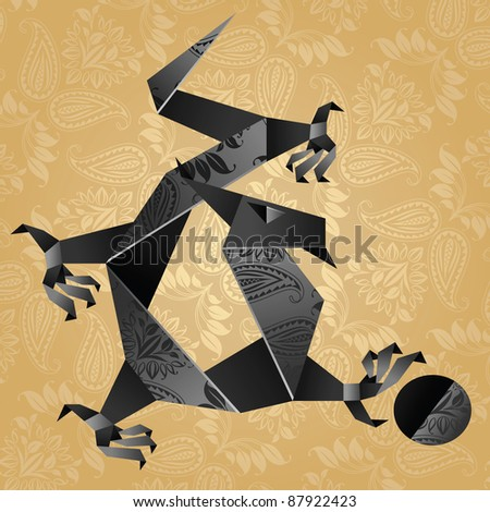 Origami black water dragon on a gold background - stock vector