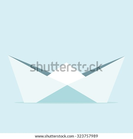 Origami boat on blue background. Vector illustration. Minimalism style