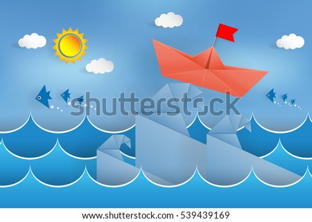 Origami boat on the waves paper cut in sea background