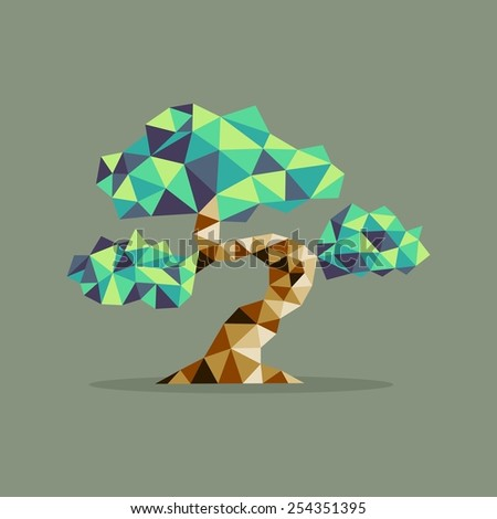 Origami Bonsai triangle tree abstract illustration. Ideal for web icon, ecology brochure and botany book cover. EPS10 vector file. - stock vector