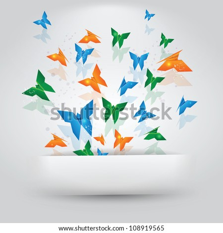 Origami Butterflies Coming Out of Paper Slit - stock vector