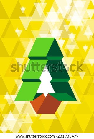 origami christams tree icon - stock vector
