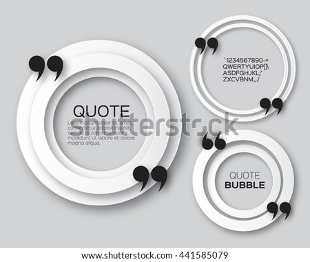 Origami Circle Quote bubble. Applique Empty Citation text box template. Paper cut Quote blank. Vector design illustration.  - stock vector