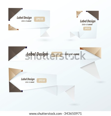 Origami 2 color style label set, chocolate color style - stock vector