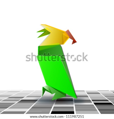origami colorful parrot. vector design - stock vector