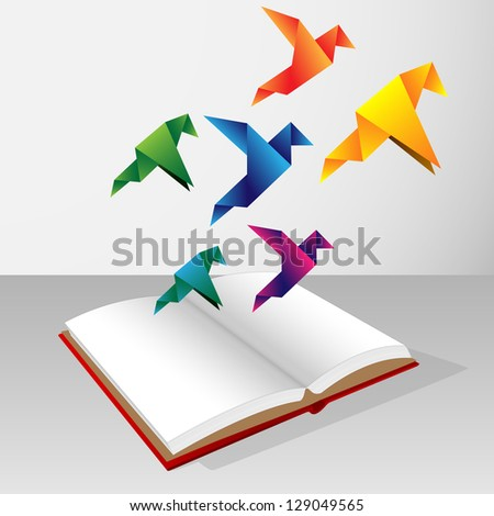origami coming out of book - stock vector