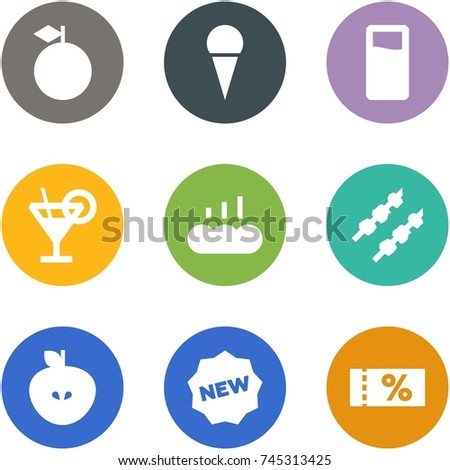 Origami corner style icon set - apple, ice cream, drink, margarita, hot bread, kebab, new, coupon