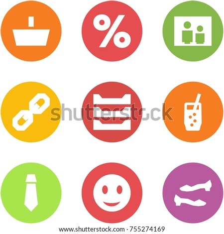Origami corner style icon set - basket, percent, family portrait, link, paper tray, soda, tie, smile, shoes