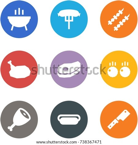 Origami corner style icon set - bbq, hotdog, kebab, chicken, meat, meatball, leg, fast food, knife