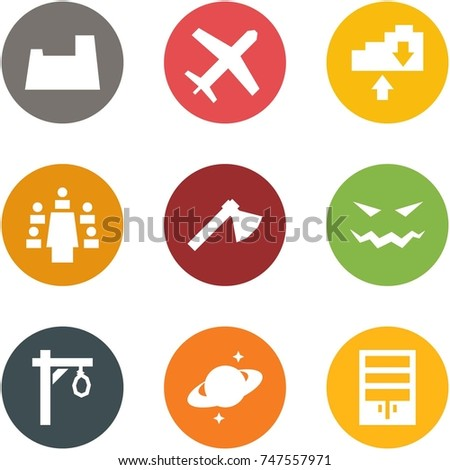 Origami corner style icon set - potty, holiday, cloud exchange, meeting, axe, scary face, gallow, saturn, wardrobe