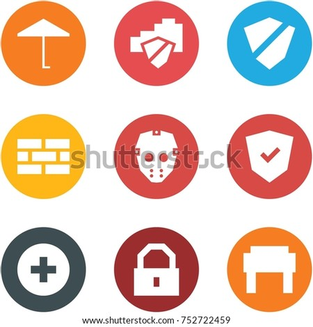 Origami corner style icon set - umbrella, cloud safe, shield, firewall, mask, add, lock, Russian hat