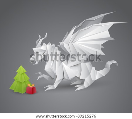 origami dragon and a Christmas tree with a present - vector creative illustration - stock vector