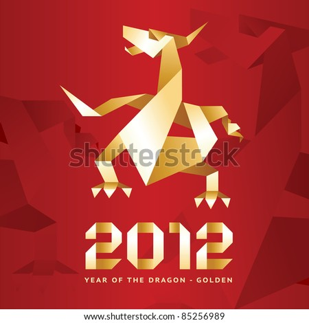 Origami Dragon, 2012 Year - Red & Gold. many my work Dragons: http://www.shutterstock.com/sets/74171-dragons.html?rid=512323 - stock vector
