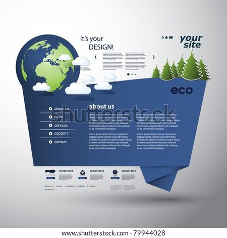 Origami Eco Website - stock vector