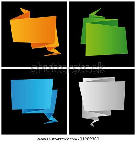 Origami, folded paper, set speech bubble, vector - stock vector