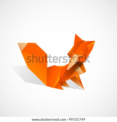 Origami Fox - stock vector
