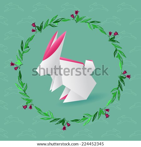 Origami hare with floral wreath - stock vector