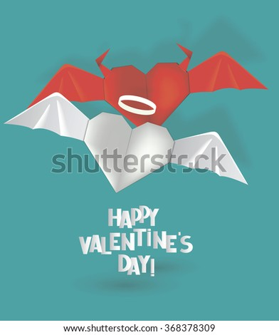 Origami hearts angel and devil. Valentine's Day vector illustration - stock vector