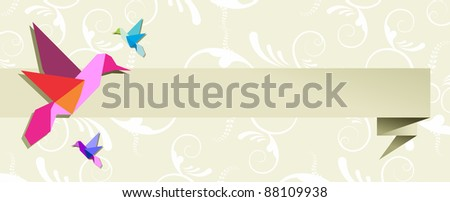 Origami hummingbird design in pastel colors floral background. Vector file available. - stock vector
