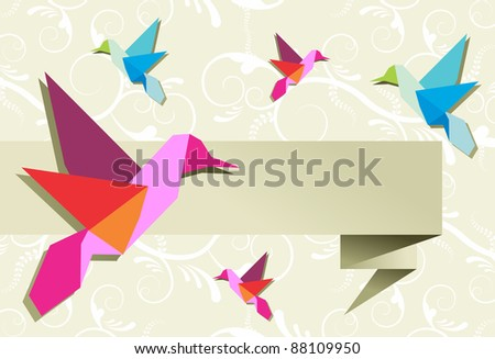 Origami hummingbird design in pastel colors palette background. Vector file available. - stock vector