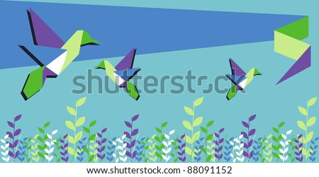 Origami hummingbird group in floral vibrant colors background. Vector file available.
