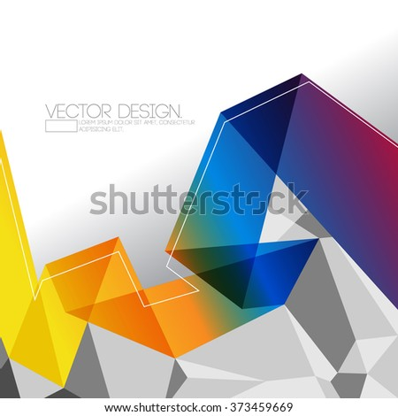 origami inspired transparent multicolor folded paper and polygon elements corporate design - stock vector