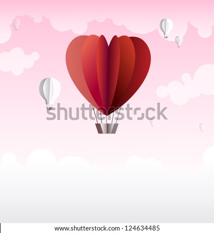 Origami made hot air balloon in a heart shape. Cute background for your text for any romantic occasion - Valentine's Day, wedding or anniversary. - stock vector