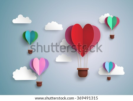 Origami made hot air balloon in a heart shape.paper art style. - stock vector