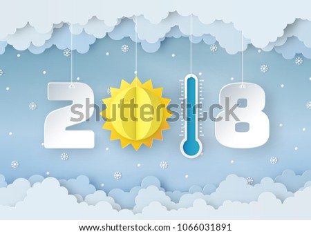 Origami Made Mobile Paper Winter Weather Stock Vector 1066031891