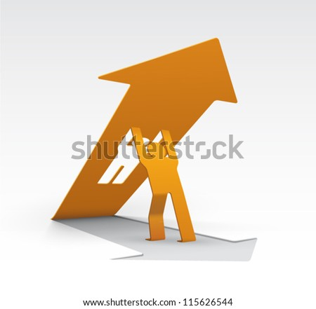 Origami Man Lifting Upwards Arrow Arrow Stock Vector Royalty Free