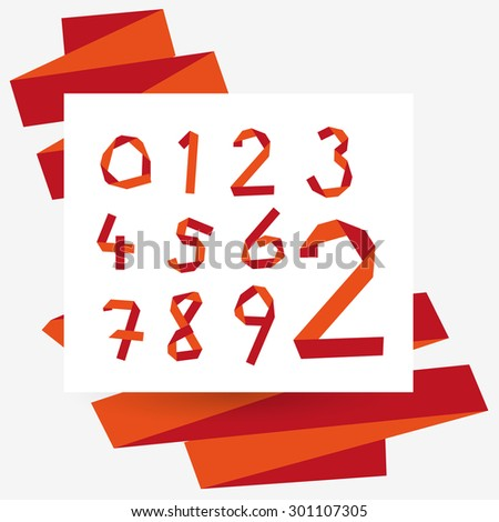 Origami numbers set, typography collection. Red colors.  - stock vector