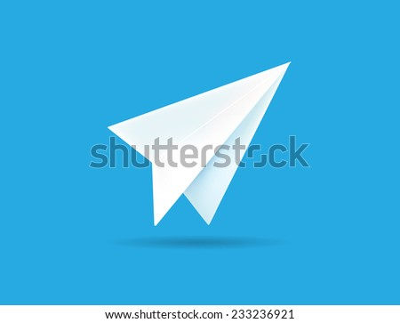 Origami Paper Airplane on Blue Background Vector Illustration can be used as Logo or Icon