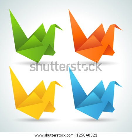 Origami paper birds collection. - stock vector