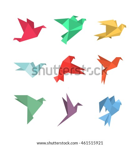 Origami paper birds in a flat style. Vector illustration of pigeons / doves / colibri / hummingbirds set on a white background. Polygonal shape. Paper figures on flight.